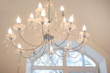 Elegant Luxury Glass Chandelier Hanging In The House. Vintage Glass Chandelier
