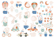 Happy Easter Clip Art - Set Of Retro Easter Cartoon Characters And Design Elements.  Easter Bunny, Chickens, Eggs, Flowers, Transport. Easter Icons Isolated On White Background. Vector Illustration.