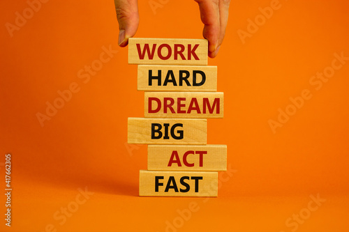 Canvas Work hard dream big symbol