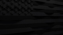 United States Black Flag With Shallow Depth Of Field. Black Lives Matter BLM Concept. Poster To Raise Awareness About Racial Inequality. 3D Render Illstration