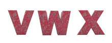 Alphabet Of Broken Red Wall. Letters V, W, X. Red Antique Font 3d Render. Background Remove In One Click.