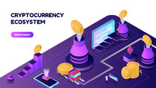 Vector Illustration Isometric Banner With NFT Coins And Volcano. Cryptocurrency Ecosystem Concept, For The Site