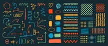 Set Of Various Arrows, Textures, Patterns, Backgrounds. Hand Drawn, Sketch Style. Dots, Lines, Curves, Text Symbols.