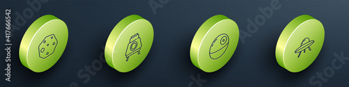 Set Isometric line Asteroid, Mars rover, Death star and UFO flying spaceship icon. Vector.