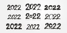 Big Collection Of 2022 Happy New Year Typography Logo Brush Strokes Text Design. 2022 Number Design Template. Set Of 2022 Happy New Year Symbols. Freehand Drawing. Vector Illustration With Black.