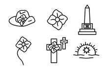 Anzac Day Designs Icon Set. Poppy, Memorial, Army Cap, Badge Icon Set, Editable Line. Logo, Web And Banner Design. Illustration.
