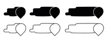 Speech Space And Location Icon Set. This Icon Is Inside The Text Area Speech Bubble, Silhouette And Line Icon Set. It Can Be Arranged Transversely.