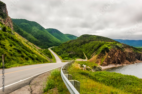 The Cabot Trail winds it's way around the coast of Cape Breton Island in Nova Scotia Canada Fototapete