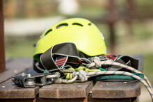 Close Up Of A Helmet And Other Equipment In Rope Park