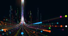 Electrical Impulse, Binary Code. Futuristic Wave. Neon Streaming. Data Stream 3D Illustration. Data Funnel Stream Technology. Cyberpunk Funnel
