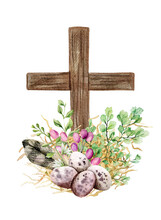 Easter Christian Cross With Green Ferns, Eggs And Feather