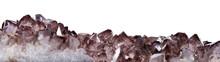 Dark Brown Smoky Quartz Crystals Long Stripe On White