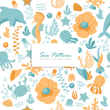 Seamless Pattern With Sea Animal. Childish Texture For Fabric, Textile.