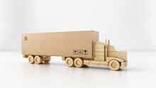 Big Cardboard Box Package On A Wooden Toy Truck Ready To Be Delivered On White Background