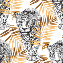 Seamless Wallpaper Pattern. Sketch Of A Walking Leopard In A Gold Exotic Palm Leaves. Textile Composition, Hand Drawn Style Print. Vector Illustration.