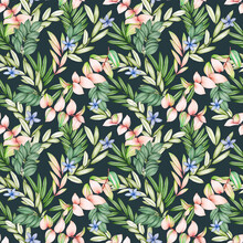 Seamless Floral Pattern On A Dark Backgground