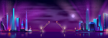 Vector Raised Drawbridge Between Two Neon Megalopolises