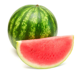 Whole watermelon and slice isolated on a white background
