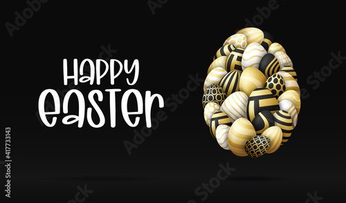 Obraz Happy easter card with eggs. Many beautiful golden realistic egg are laid out in the shape of a large egg. Vector illustration for easter on black background. - fototapety do salonu