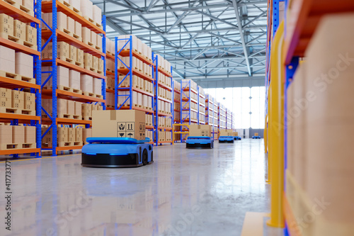 Obraz na plátne An army of robots efficiently sorting hundreds of parcels per hour(Automated guided vehicle) AGV
