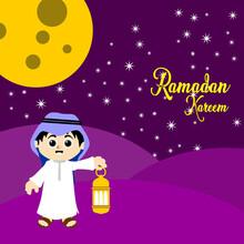 Vector Illustration Of Ramadan Greeting Card. Cute Cartoon Muslim Kids Holding Lantern With Crescent Moon. Ramadan Kareem Means Ramadan The Generous Month.