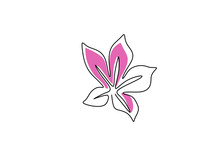 Azalea Flowers Continuous Line Drawing. Blossoming Flower With Pink Color Isolated On White Background. Symbol Of Spring With Botanical Flora Hand Drawn Line Art Minimalism Style. Vector Illustration