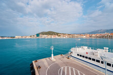 Travel By Croatia. Ferry Boat Moored On The Split Old Town Sea Promenade And Harbour.