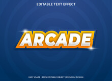 Arcade Text Effect Template Design With Abstract Style Use For Business Logo And Brand