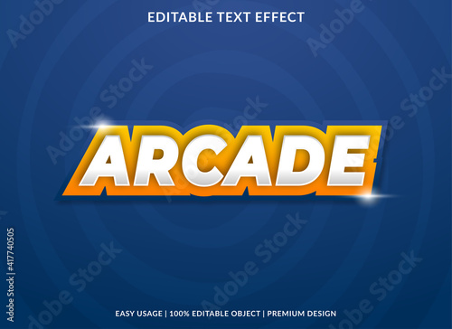 Obraz na plátně arcade text effect template design with abstract style use for business logo and