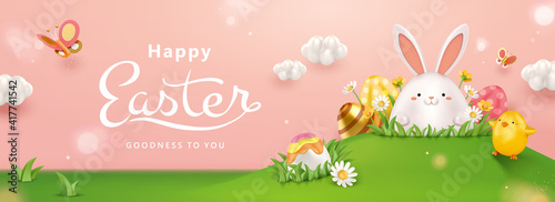 Fotografie, Obraz 3d Easter egg hunt background