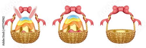 Canvastavla 3d Easter egg basket collection
