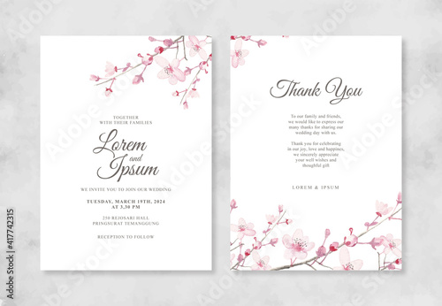 Obraz Elegant wedding invitation with hand painted watercolor Cherry blossoms - fototapety do salonu