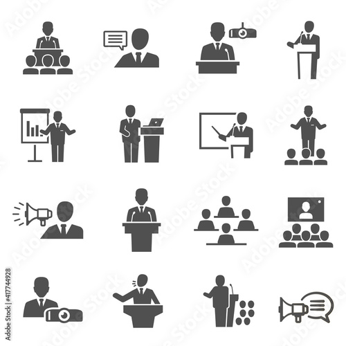 Obraz na plátně Public speaking, political debate, lecturer speech bold black silhouette icons set isolated on white