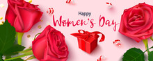 Greeting Card For The Celebration Of Women's Day On March 8.Creative Design Concept.Red Roses, Gift Box