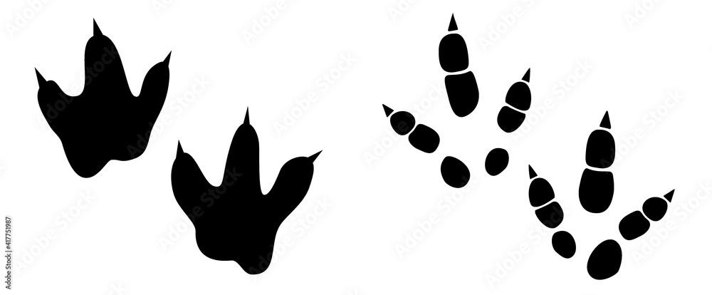 Dinosaur footprint tracks vector set illustration. Background with paw, claw predator. Dinosaur footprint illustration perfect for textile, wrap and wallpaper and design.