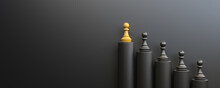 Leadership And Growth Concept, Yellow Pawn Of Chess, Standing Out From The Crowd Of Black Pawns, On Black Background With Empty Copy Space On Left Side. 3D Rendering