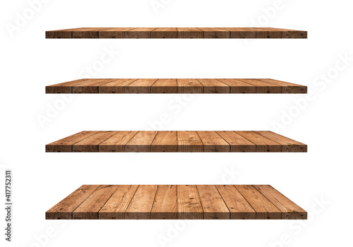 Obraz A collection of brown wooden shelves on a white background that separates the objects. There are clipping paths for the designs and decoration - fototapety do salonu