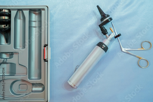 Equipment for specialist of ear, throat and nose ENT for detecting disorders of the patient © weerayut