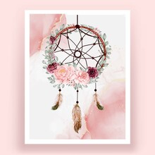 Watercolor Dream Catcher Rose Pink And Burgundy Flower Feather