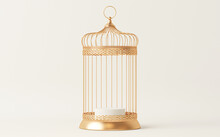 Creative Minimal Concept With Golden Bird Cage.  Trendy 3d Rendering For Social Media Banners, Promotion, Stage Show, Studio.