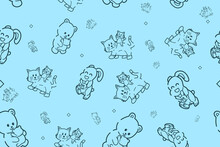 Seamless Pattern, Cute Animal Character Hand Draw. Vector Cat, Rabbit And Bear Family Sticker For Mother's Day Or Sale Shopping Special Offer Poster. Best Mom Ever Greeting Card. Gift Wrapping.