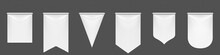 White Pennant Flags Mockup, Blank Vertical Banners On Flagpole With Rounded, Straight, Pointed And Double Edges. Isolated Medieval Heraldic Empty Ensign Templates. Realistic 3d Vector Illustration Set