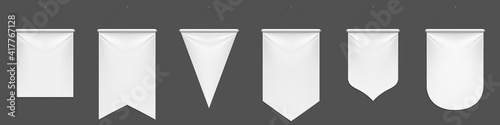 Fotografie, Obraz White pennant flags mockup, blank vertical banners on flagpole with rounded, straight, pointed and double edges