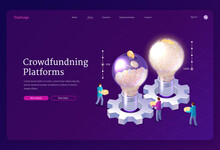 Crowdfunding Platforms Isometric Landing Page. People Donate Money For Idea Support Put Coins In Huge Glowing Light Bulbs. Social Help, Philanthropy, Donation And Charity Concept, 3d Vector Web Banner