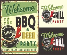 Set Of Poster, T-shirt Colored Print With Barbeque Maker And Sausage For Picnic, Grill Party And Camping
