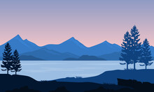 Calming Morning Atmosphere On The Riverbank With Views Of Mountains And Trees. Vector Illustration