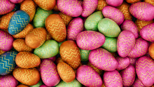 Multicolored, Foil Wrapped Easter Egg Background. Beautiful Easter Wallpaper With, Patterned Pink, Green And Orange Eggs. 3D Render