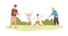 Happy Active Kids Jumping Over Skipping Rope, Held By Parents. Family Spending Leisure Summer Time Outdoors Playing With Children. Colored Flat Cartoon Vector Illustration Isolated On White Background