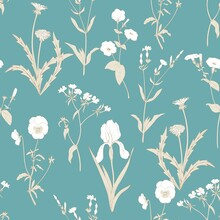 Wild White Flowers On A Turquoise Background. Vintage Wind Pattern For Fabric With Irises, Petunias, Dandelions And Other Plants.