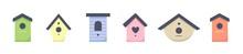 Set Of Bird Houses, Nesting-box, Starling Box For Difrent Birds. Birds Care. Vector Illustration.